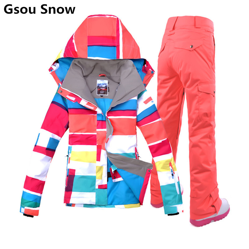Gsou brand colorful snowboard jackets ski suit female ski jacket snow pants women skiing veste ski femme warm waterproof