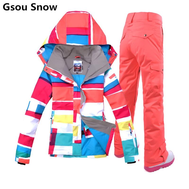 Gsou brand colorful snowboard jackets ski suit female ski jacket snow pants women skiing veste ski femme warm waterproof