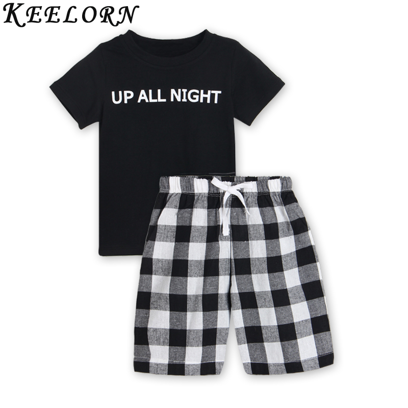 Keelorn Boys Clothing Sets 2017 Summer New Style Kids Clothes Casual boys clothes Letter T-shirt+plaid shorts children clothing