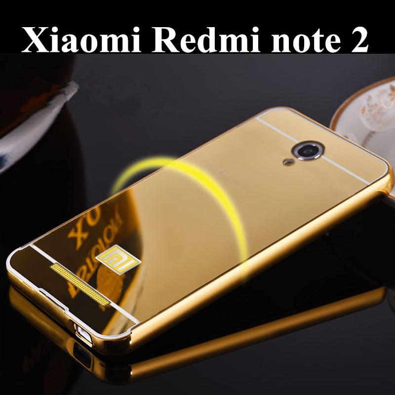 Coque for xiaomi redmi note 2 Mirror Metal Aluminum+Acrylic Hard Back Protective Back Cover Shockproof Armor Case Accessory