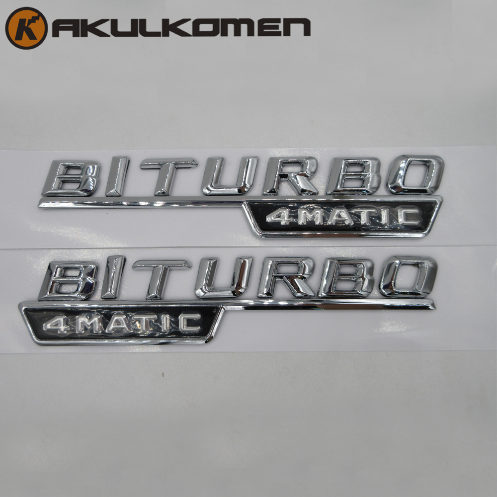 2pcs/pair BITURBO 4MATIC STICKER SIDE FENDER EMBLEM FOR MERCEDES BENZ AMG 4 MATIC Trunk Rear Letters Badge Emblem chrome c180 letters for c 180 c class trunk emblem badge sticker