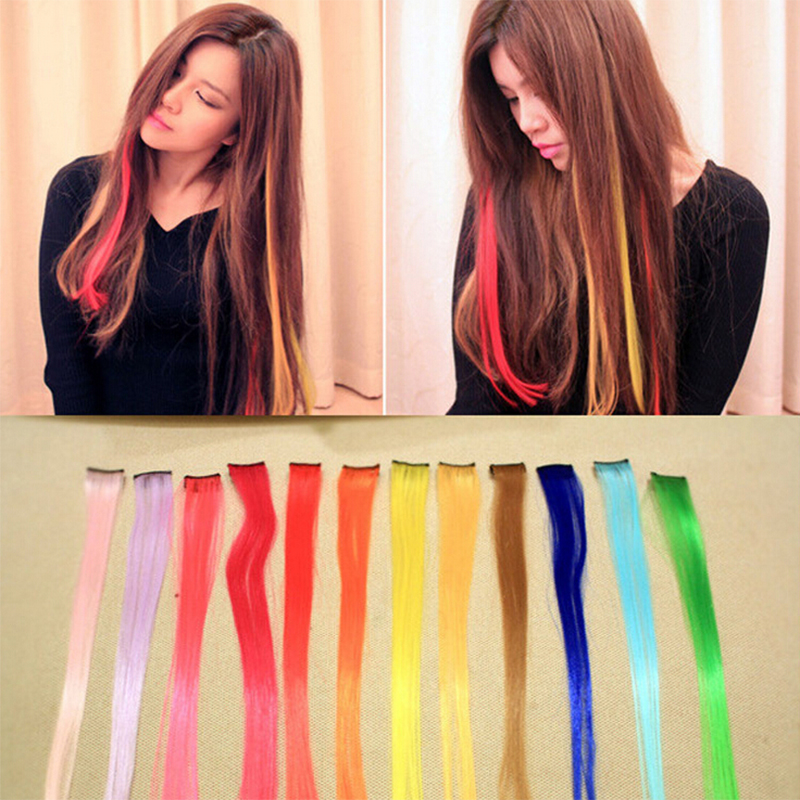 New Arrive fashion women's Long Synthetic Clip In Extensions hair extensions 2016 Gradient Color cosplay hair pieces