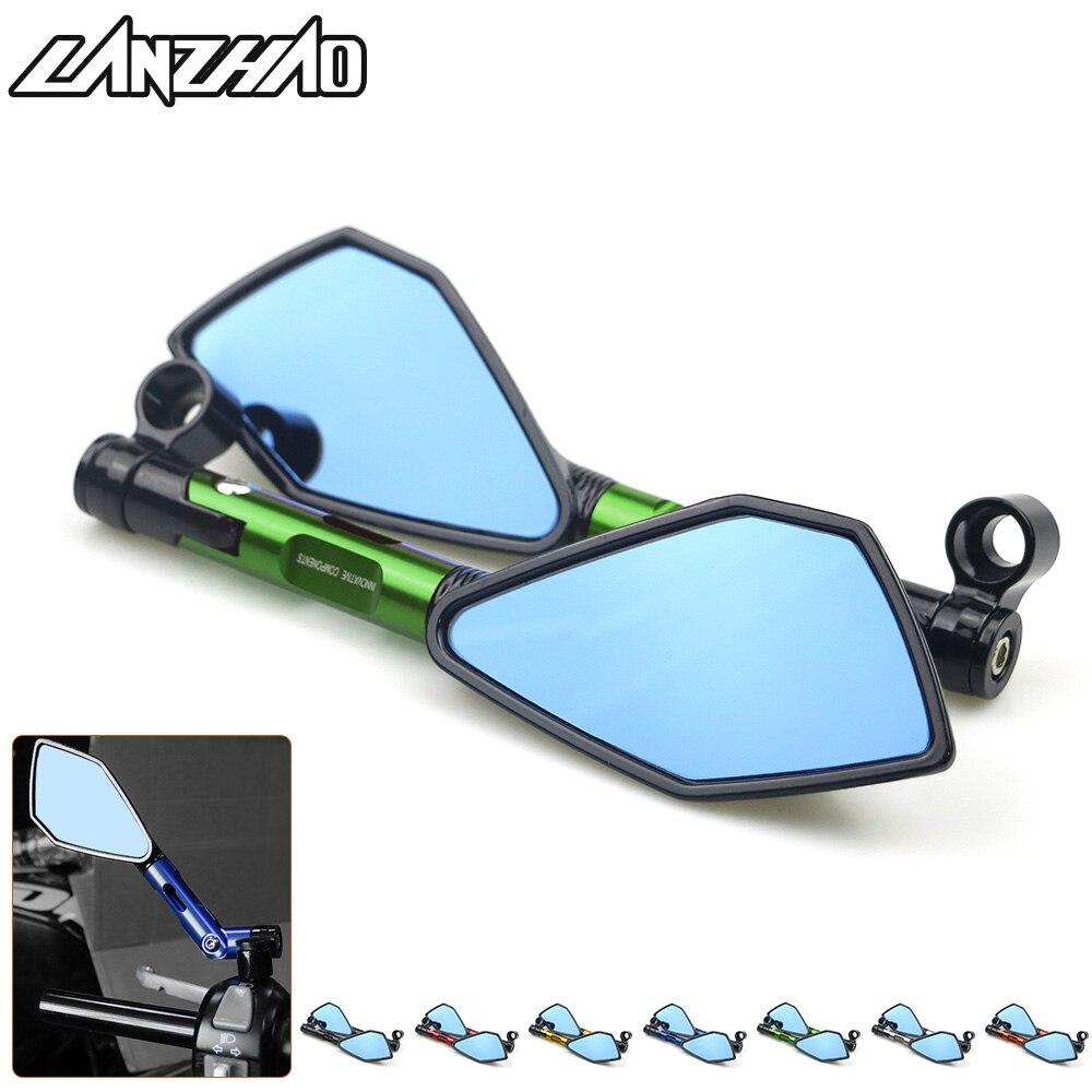 Pour Kawasaki Z900 Z900RS Z800 Z1000 Moto CNC Arrière En Aluminium Rétroviseurs Bleu En Verre Côté Convexe Miroir Vert Noir Or rouge