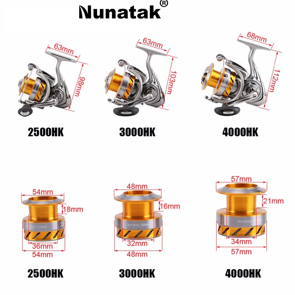 Nunatak 100% Original  REVROS 3000HK / 4000HK Spinning Fishing Reel  7BB 5.6: 1/5. 7: 1 Freshwater Salt Water Spinning Reel