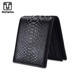 McParko Herren Luxus Brieftasche Aus Echtem Leder Schlangen Brieftasche Python Leder Brieftasche Männer Kleine Handtasche Marke Neue Kurze bifold Schwarz