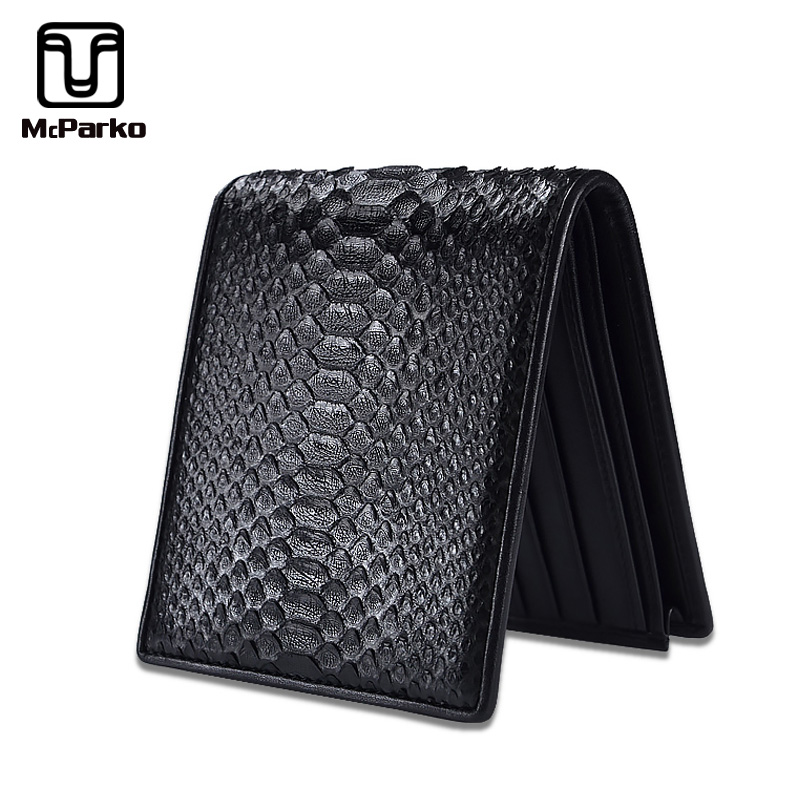 McParko Mens Luxury Wallet Genuine Leather Snakeskin Wallet Python Leather Wallet Men Small Purse Brand New Short bifold Black-in Wallets from Luggage & Bags    1