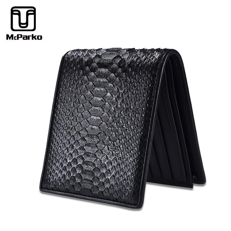 McParko Mens Luxury Wallet Genuine Leather Snakeskin Wallet Python Leather Wallet Men Small Purse Brand New Short Bifold Black