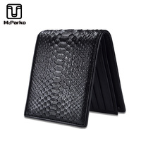 McParko Mens Luxury Wallet Genuine Leather Snakeskin Wallet Python Leather Wallet Men Small Purse Brand New Short bifold Black
