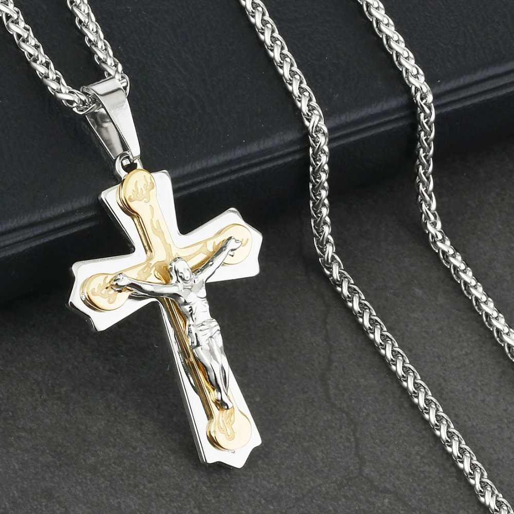 Christ Cross Pendant Necklace Male Sturdy Stainless Steel Crucifix Link Chains Religious Jewelry Metal Body Statement Gift NC130