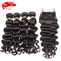Ali Queen Hair Peruvian Virgin Hair Natural Wave 4 Bundles With Lace Closure Grade 6A 100% Unprocessed Human Hair Shipping Free