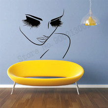 Beauty Girls Wall Decoration Fashion Salon Poster Art Vinyl Removeable Room Sticker Women Bedroom Mural Decal LY781