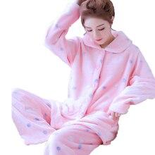 Cute Pajamas For Women Winter Ladies Long Sleeve Flannel Cartoon Pajama Suit Female Sleepwear Warm Pyjama Two Piece Set HomeWear