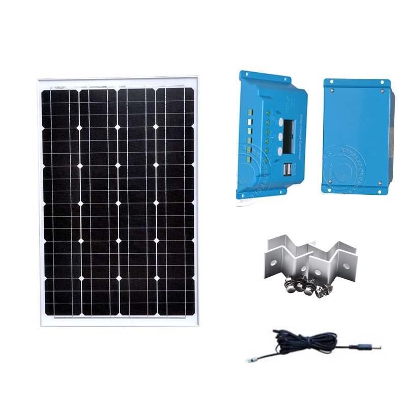 TUV Solar Kit Solar Panel 12v 60w Solar Charge Controller 12v/24v 10A Solar System Caravan Car Camping Motorhome LED Phone Solar Cells     - title=