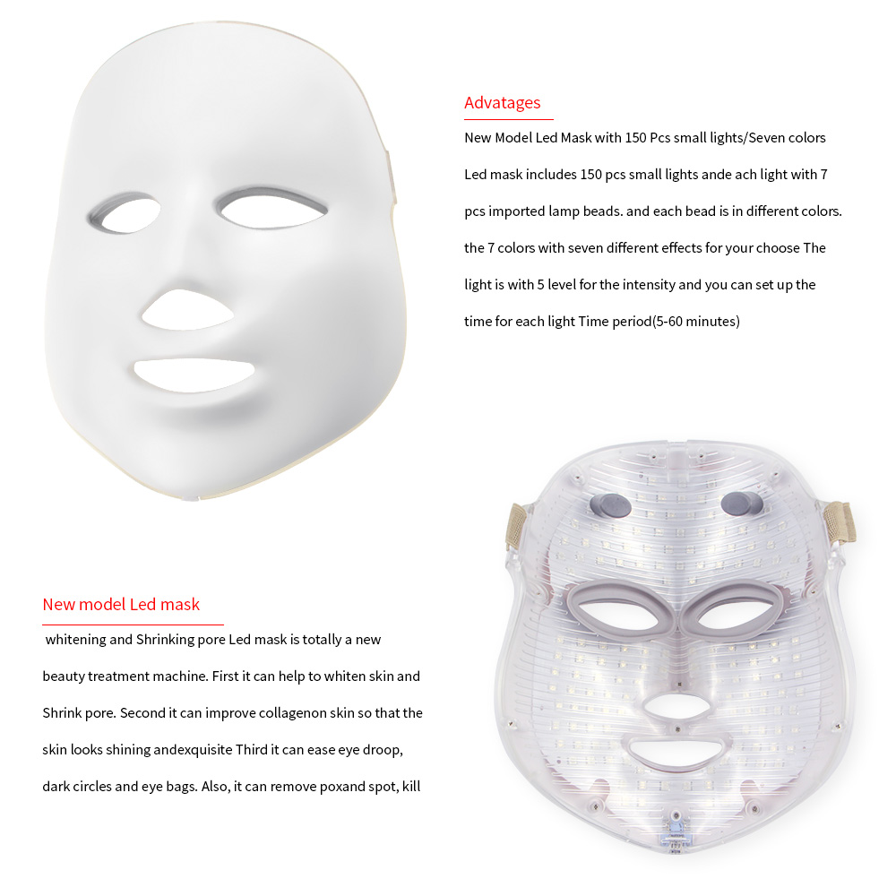 2 Types 7 Colors Electric Led Facial Mask Face Mask Machine Light Therapy Acne Mask Neck Beauty Led Mask Led Photon Therapy