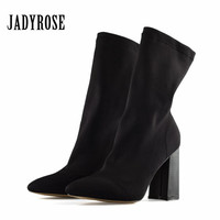 Jady Rose Black Elastic Ankle Boots for Women Pointed Toe Chunky High Heel Martin Boot Slip On Stretch Fabric Female Sock Boots
