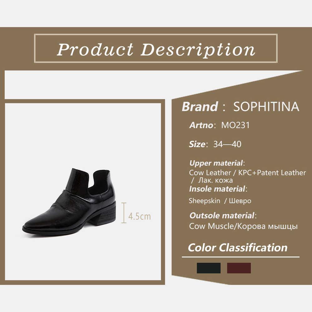 SOPHITINA yeni şık hakiki deri Slip-On kadın çizmeler tasarım sonbahar sivri burun kare topuk ayakkabı sığ bayan botları MO231