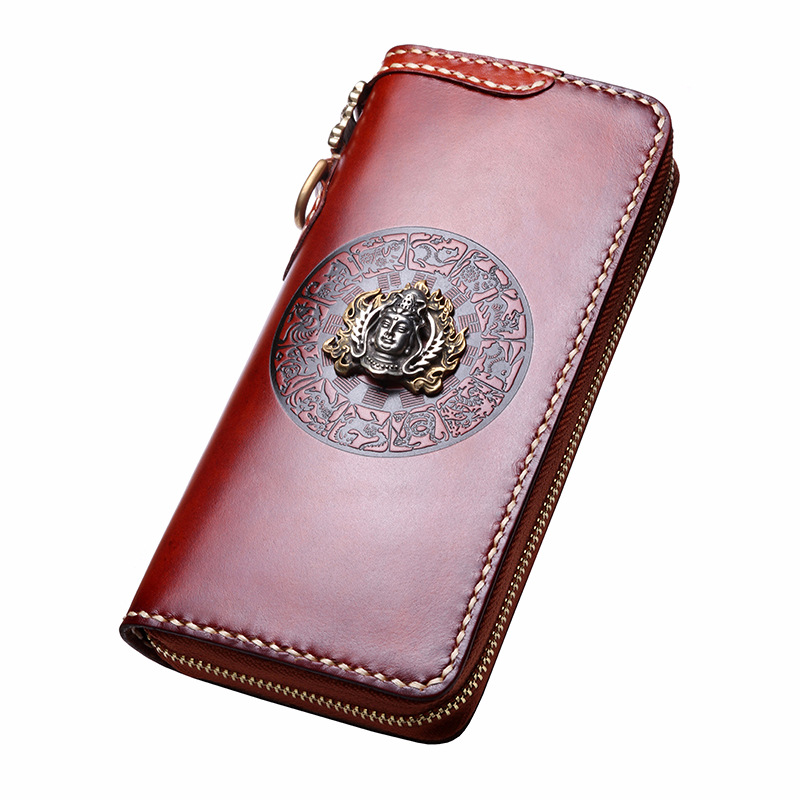 2018 Genuine Leather Buddha Head Wallets Embossing Bag Purses Women Men Long Clutch Vegetable Tanned Leather Wallet Card Holder brand handmade genuine vegetable tanned leather cowhide men wowen long wallet wallets purse card holder clutch bag coin pocket
