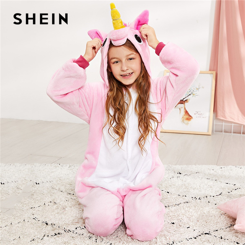 SHEIN Pink Girls Plush Faux Fur Cartoon Casual Onesie Jumpsuit pajamas Kids 2019 Long Sleeve Hooded Warm Button Blanket Sleeper аксессуар чехол накладка samsung galaxy a8 2018 clear cover transparent ef qa530ctegru