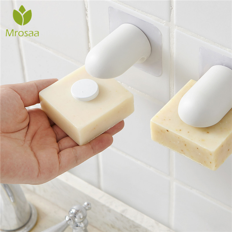 Household Bathroom Magnetic Soap Holder Container Dispenser Wall Attachment Adhesion Soap Dishes For Bathroom Accessories