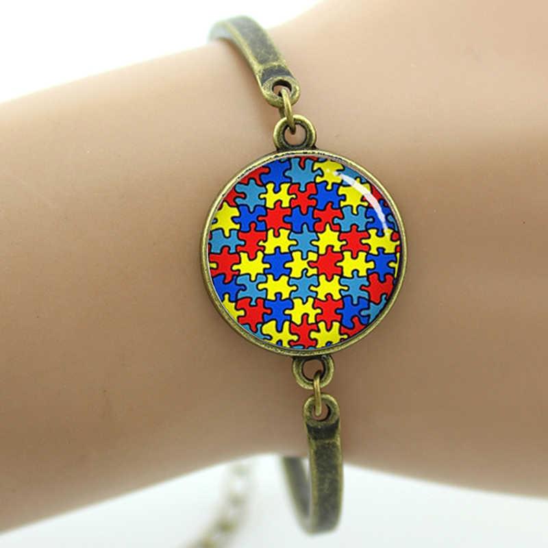 Tafree аутизм, сердце браслет красочные осознание аутизма головоломки части подвески на -- счастливые ключи для женщин ювелирные изделия T525