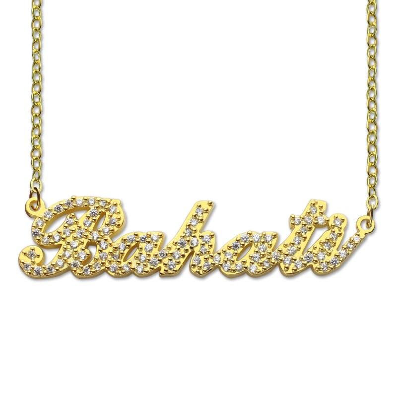 AILIN musujące cięcia stylu Carrie nazwa naszyjnik złoty kolor spersonalizowane naszyjnik z tabliczki znamionowej zwyczaj biżuteria dla niej w Naszyjnik z wisiorkiem od Biżuteria i akcesoria na  Grupa 1