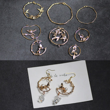 1pcs diy jewelry accessories alloy simple flower circle earrings for women pure copper plated bracelet fashion necklace pendant