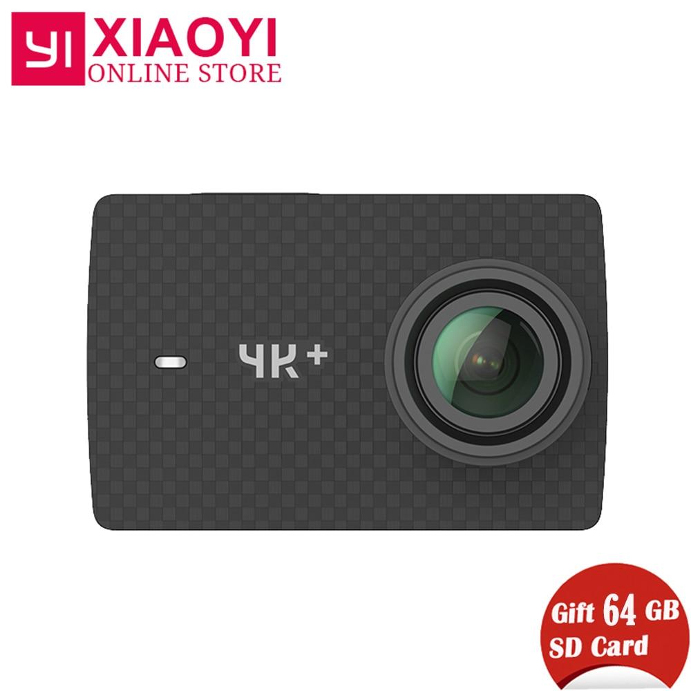 Livraison Cadeau 64g SD Carte Xiaomi YI 4 k Plus Action Caméra Ambarella H2 4 k/60fps 12MP 155 Degrés 2.19 Xiaomi YI 4 k + Sport Caméra