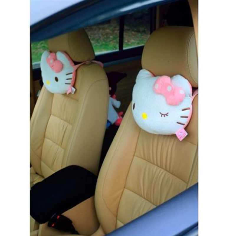 2Pcs//Pair Pink Cute Hello Kitty Car Seat Head Rest Cushion Pillow Neck Rest