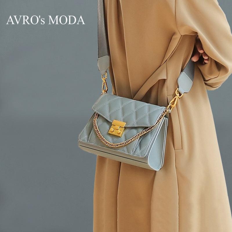 Bagaj ve Çantalar'ten Omuz Çantaları'de AVRO erkek MODA marka hakiki deri çanta lüks kadın çanta tasarımcısı kadın omuz çantaları 2019 retro flep kare crossbody çanta'da  Grup 1