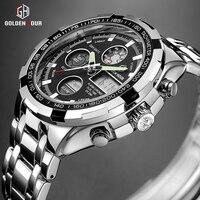 Goldenhour Luxe Merk Waterdichte Militaire Sport Horloges Mannen Zilveren Staal Digitale Quartz Analoog Horloge Klok Relogios Masculinos