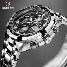 Analog Watch Clock Quartz Digital Military Silver Waterproof GOLDENHOUR Relogios Luxury Brand