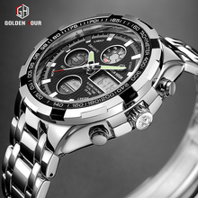 GOLDENHOUR Luxury Brand Waterproof Military Sport Watches Men Silver Steel Digit