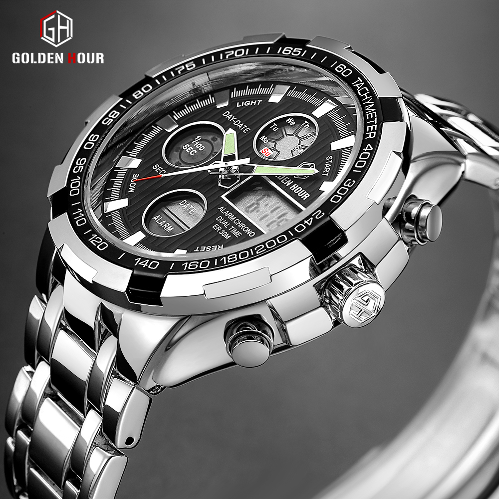 GOLDENHOUR de marca de lujo resistente al agua deporte militar relojes de plata de los hombres de acero Digital analógico de cuarzo reloj Relogios Masculinos