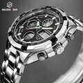 GOLDENHOUR luksusowej marki wodoodporne wojskowe zegarki sportowe mężczyźni srebrny stal cyfrowy kwarcowy zegarek analogowy zegar Relogios Masculinos