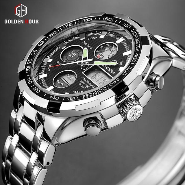 GOLDENHOUR יוקרה מותג עמיד למים צבאי ספורט שעונים גברים כסף פלדה דיגיטלי קוורץ אנלוגי שעון שעון Relogios Masculinos