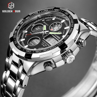 GOLDENHOUR Luxury Brand Waterproof Military Sport Watches Men Silver Steel Digital Quartz Analog Watch Clock Relogios