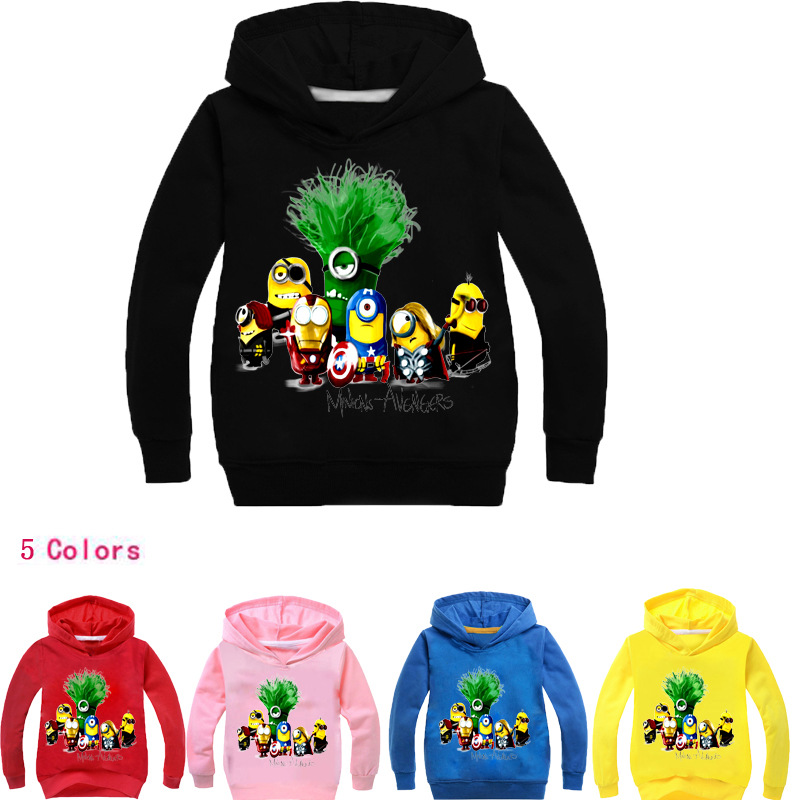 bc90d972 Children Sweatshirts Baby Boys Long Sleeve T-Shirts Girls Cartoon Minions  Hooded Kids Clothing Outwear