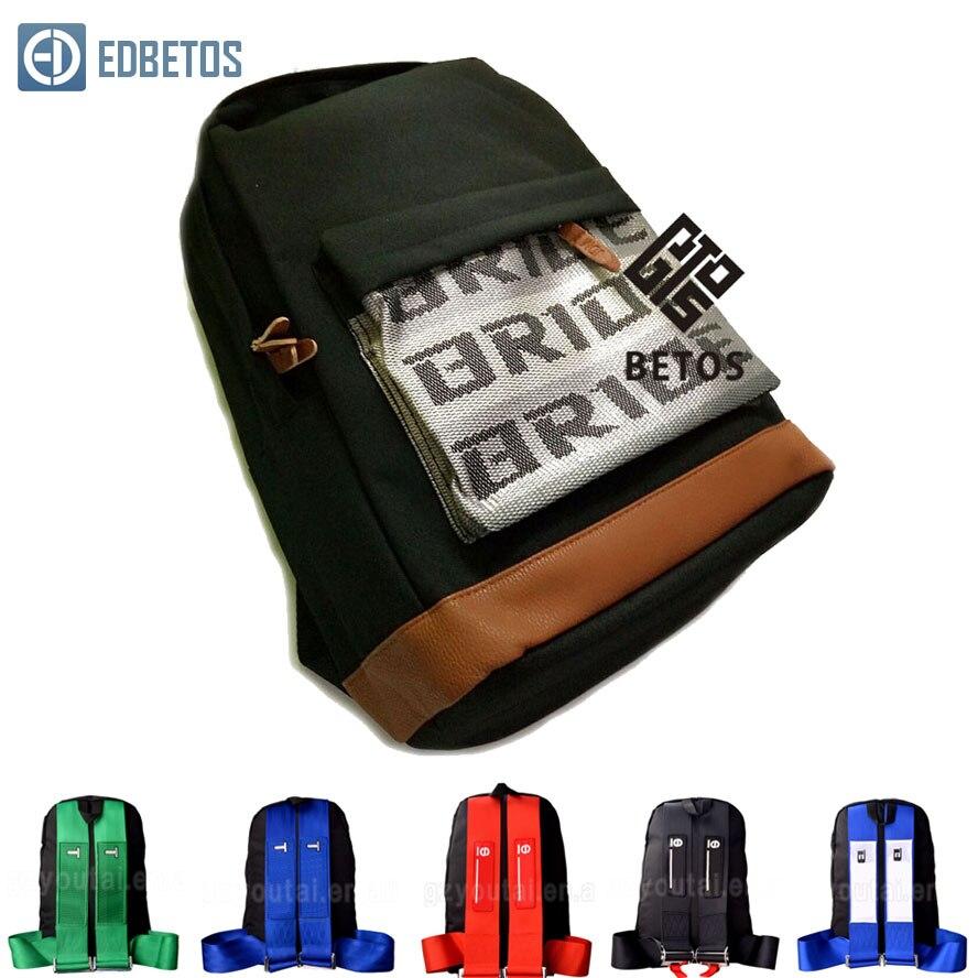 EDBETOS offre spéciale JDM Racing Style Bride tissu sac à dos mariée sièges tissu matériel sac à dos (rouge/bleu/noir sangles de harnais)