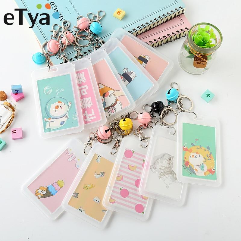 ETya Cartoon Cute Child Bus Card Holder Men Women Bank Credit Card Holder ID Card Holders Cover Work Badge Key Ring Bag Case