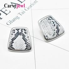 Carvejewl big stud earrings snake print hand painted enamel glaze geometric Bohemia earrings for women jewelry unique fashion недорого