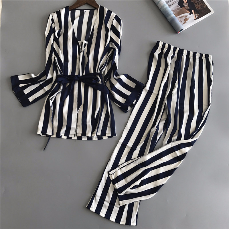 Lisacmvpnel 3 Pcs Sexy Ice Silk Stripe Woman Pajamas Camisole Long Waist Belt Female Pijama ...