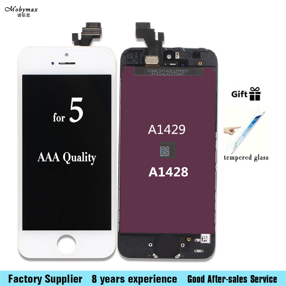 Mobymax AAA For Apple iPhone 5 5G A1428 A1429 LCD Display Touch Screen Assembly With Digitizer +Tempered film