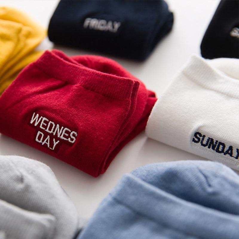 7 Pairs/lot Women Men Cotton Socks Monday To Sunday 7 Days Embroidery Weekly Socks Male Female Mood Week Dress Socks Every Day