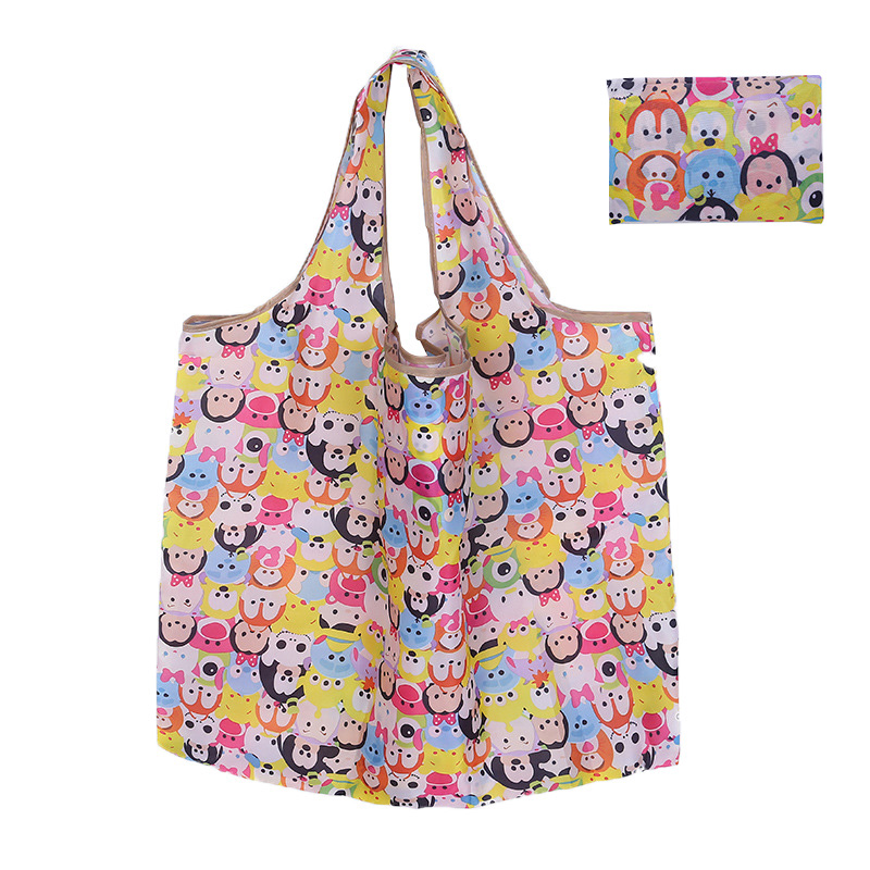 New Cartoon Shopping Bag Lady Foldable Polyester Cloth Reusable Fruit Grocery Pouch Recycle Organization Bag