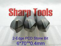 Super! Double Flute 70 Degree 6x 0.4MM PCD Diamond Engraving Bit Milling Bit Router Cutter, Hard Tiles Stone CNC Engraving Tools