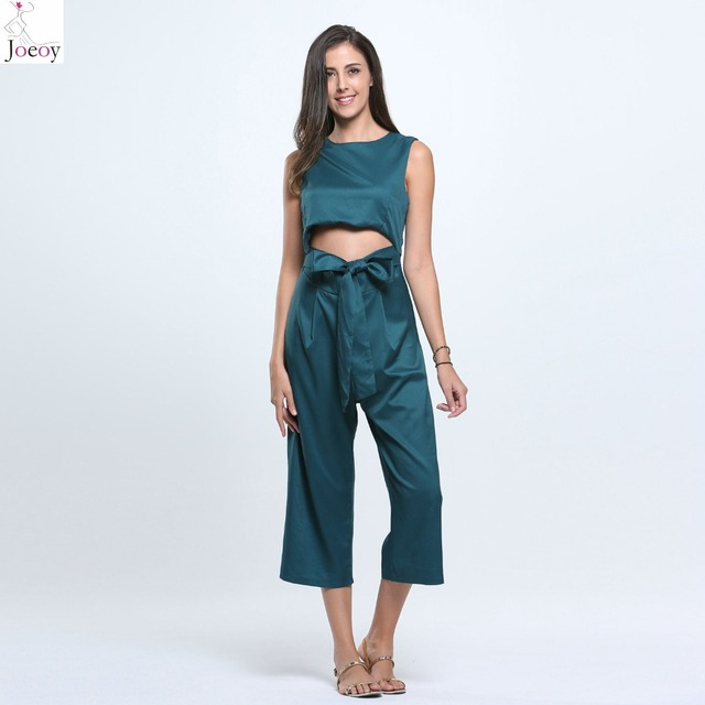 c4cd3269ccb Women Black Green Open Belly Bowknot Detail Cropped Wide Leg Jumpsuit 2016  Spring New Casual Solid Summer Bodysuit Plus Size