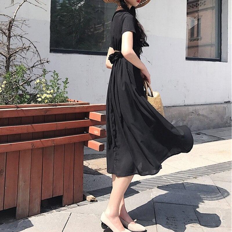 Robes Col Vêtements Mode Taille D'été Cm Casual Robe wine 1015 Ouvert Plus Section 4xl La Femme ligne Black Yagenz 120 A Red V Femmes Longue 7FzpqP