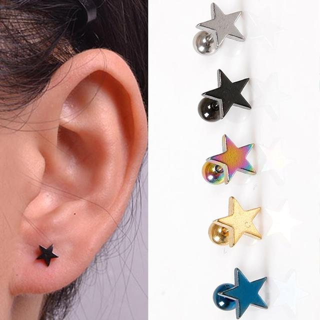 1 pc Fashion star Earrings Steel Star plated polished Unisex more colors for choice