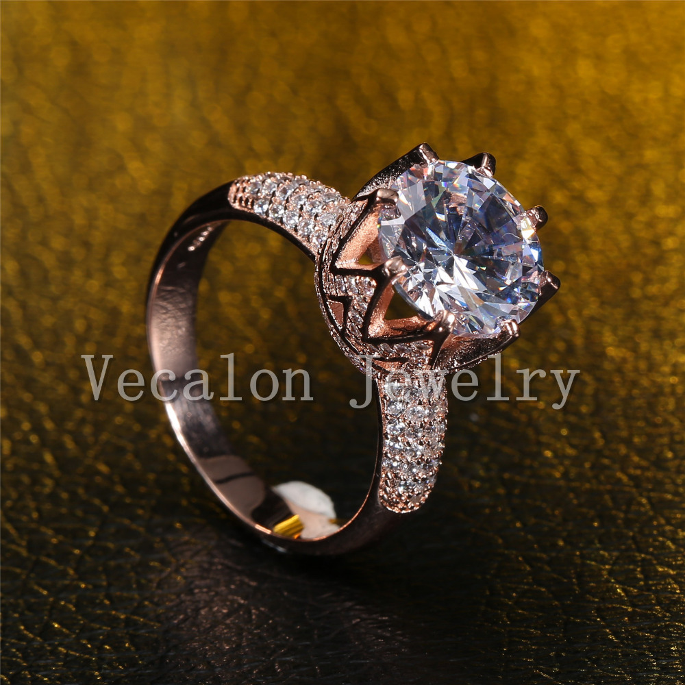 Vecalon Rose Gold Ehering für Frauen Rundschnitt 6 ct AAAAA Zirkon - Modeschmuck - Foto 4