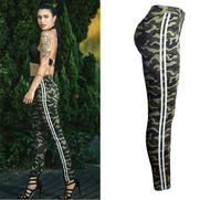 Women`s Plus Size Chic Camo Army Green Skinny Jeans For Women Femme Side Striped Camouflage Cropped Pencil Pants